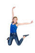 Young happy caucasian woman jumping