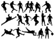 Silhouette of soccer players