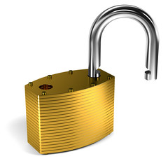 Padlock over white background
