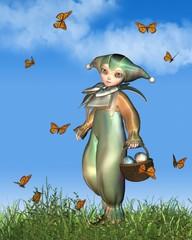 Easter Pierrot Clown Doll with Butterflies