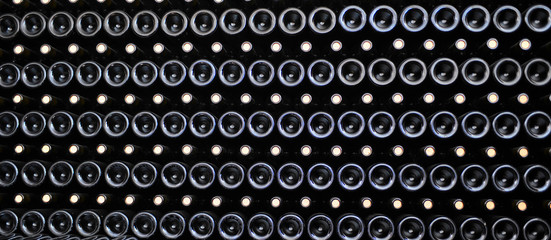 Old bottles of red wine
