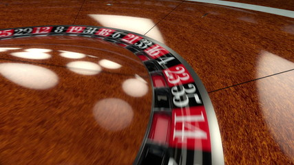 Roulette Wheel spin around landing on green double zero