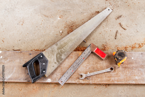 carpenter's tools on a workbench