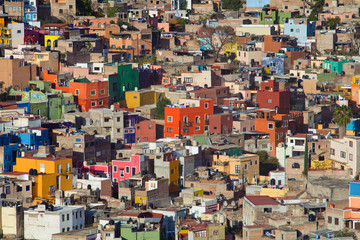 colorful cityscape of mexican city guanajuato