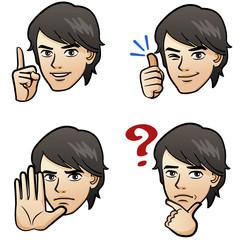 男性 表情 ジェスチャー マンガ / Handsome man facial expression
