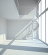 Empty white room with staircasel in waiting for tenants illustra