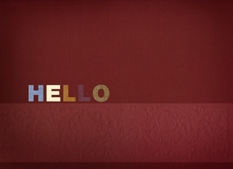 Hello word on linen background