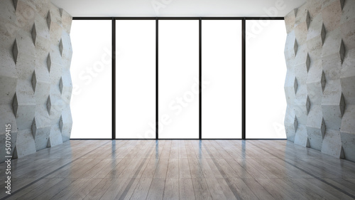 Empty room with concrete wall panels
