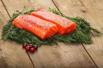 Salty salmon on the old table
