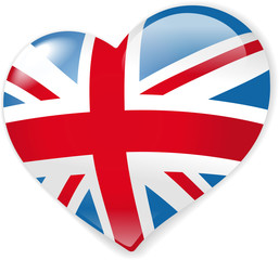 Heart with british flag vector