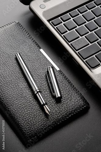 Laptop, card holder, fountain pen