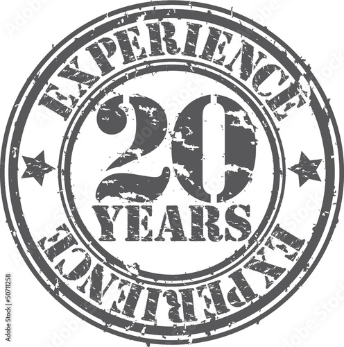 Grunge 20 years of experience rubber stamp, vector illustration