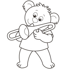 Cartoon Bear Playing a Trombone