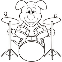 Cartoon Dog Playing Drums