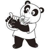 Cartoon Panda Playing a Harp