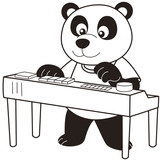 Cartoon Panda Playing an Electronic Organ