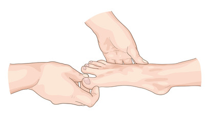 Examination of the foot.
