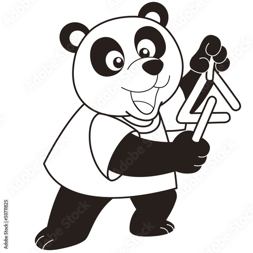 Cartoon Panda Playing a Triangle