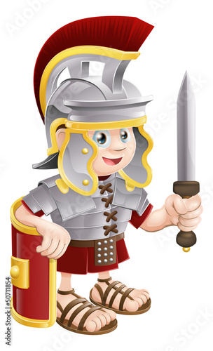 Fotobehang Ridders Roman Soldier with Sword