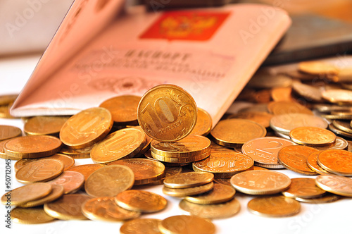 coins and passport
