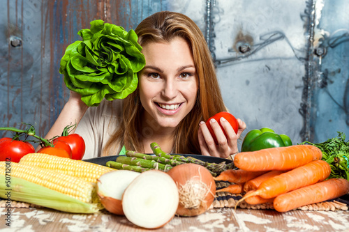 Young Woman Playing with Veggies