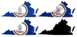 US Virginia state flag over map collage