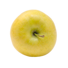 Top view of yellow apple isolated