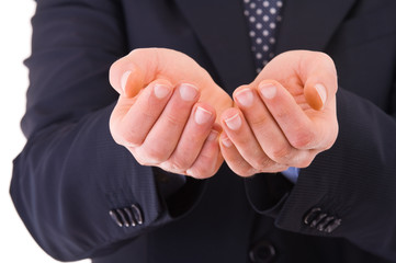 Businessman showing empty hands.