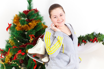 young woman with the skates