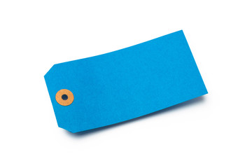 Blue cardboard or paper luggage tag isolated on white