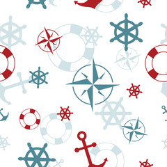 Seamless pattern: maritime symbols - anchor, life buoy, the wind