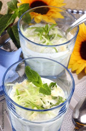 verrine de concombre et raifort au yaourt