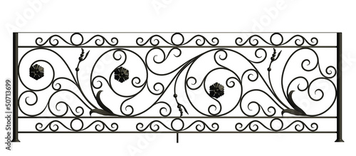 Iron fence with flowers and leaves