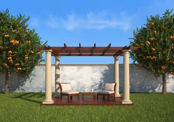 relax in the garden under a gazebo