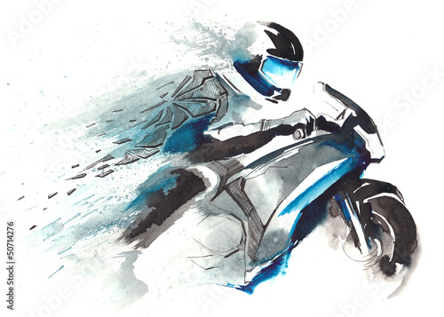 Leinwanddruck Bild motorcycle racer