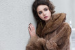 Loneliness. Winter. Beautiful Refined Female in Wool Fur Coat