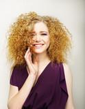 Pleasure. Happy Face of Frizzy Redhead Woman. Joy poster