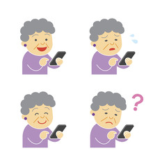 Elderly woman using smartphone