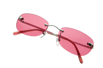 Pink sunglasses on white