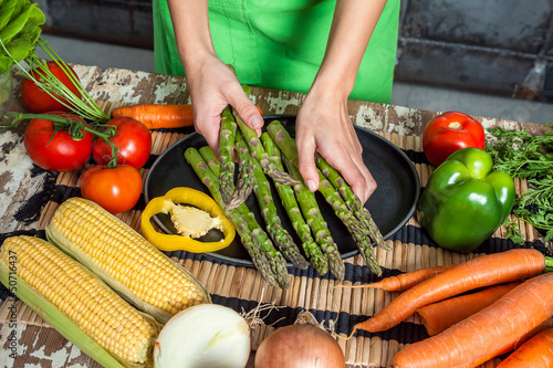 Woman Hands Preparing Raw Veggies