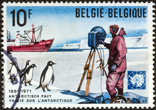 "Scientist, Adelie penguins and ship ""Erika Dan"" (Belgium 1971)"
