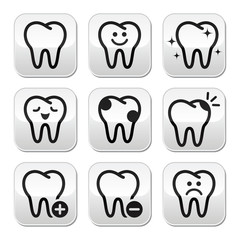 Tooth , teeth vector buttons set