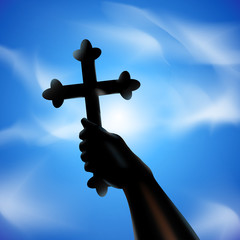 Cross in hand. Vector illustration