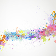 Vector Illustration of an Abstract Background with Music notes