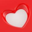 3D Herz Flyer Quadratisch - Rot Weiß