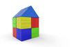 Buntes Haus aus Bauklötzen isoliert 6