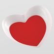 3D Herz Flyer Quadratisch - Weiß Rot