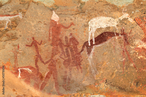 Bushmen (san) rock painting of figures and antelopes