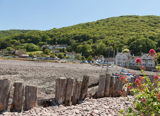 View of Porlock Weir and Harbour in Devon UK