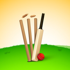 Abstract sports concept with cricket ball on wicket stumps.